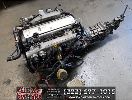 JDM TOYOTA 1JZ-GTE VVTI ETCS MOTOR WITH R154 TRANSMISSION ECU AND HARNESS